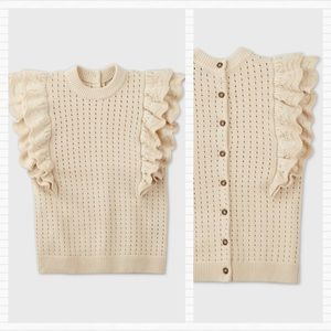 Cream Button Back Knit Sweater WHO WHAT WEAR